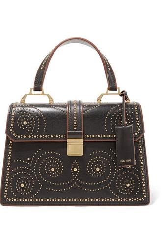 studded leather black bag