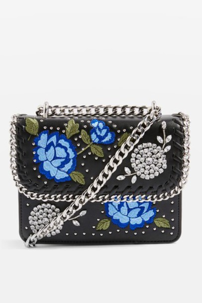 Topshop cross bag floral black