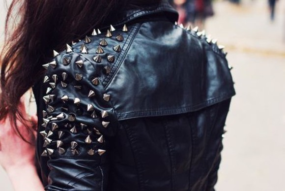 spikes black coat leather grunge jacket black coat black jacket spiked leather jacket