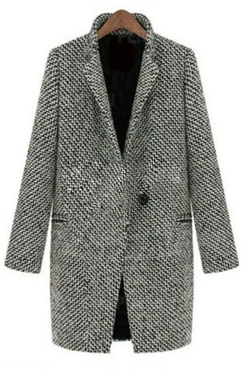 Color Block Stand Collar Worsted Coat [HT00001] - PersunMall.com