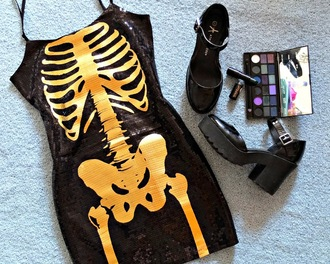 dress h&m gold dress skeleton skeleton dress bones halloween halloween dress kawaii dress kawaii goth sequin dress sequins yellow little black dress h&m dress