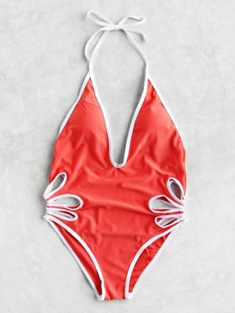 swimwear girly one piece swimsuit one piece red cut-out