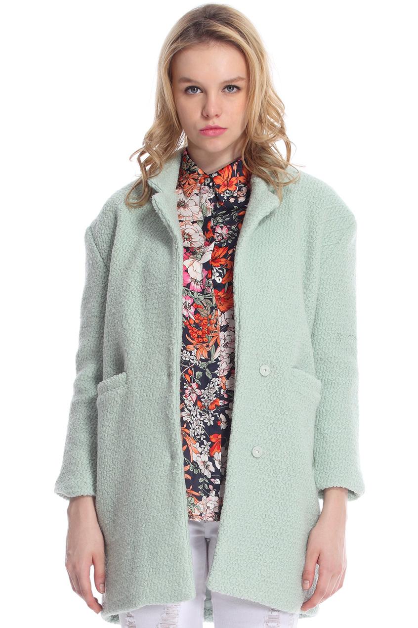 ROMWE | Lapel Buttoned Slim Sheer Light-green Woolen Coat, The Latest Street Fashion
