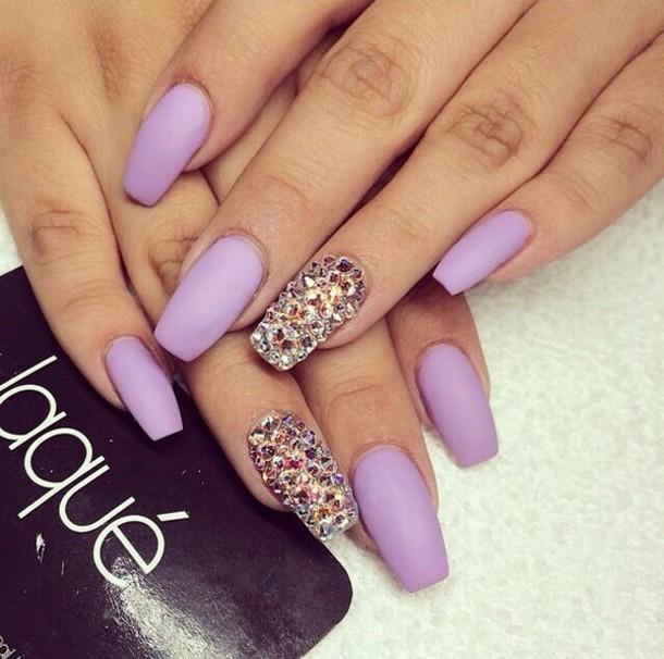 Nail polish: nail accessories, matte, purple, swarovski, crystal ...