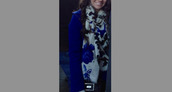 scarf,floral,blue,white,black,royal blue