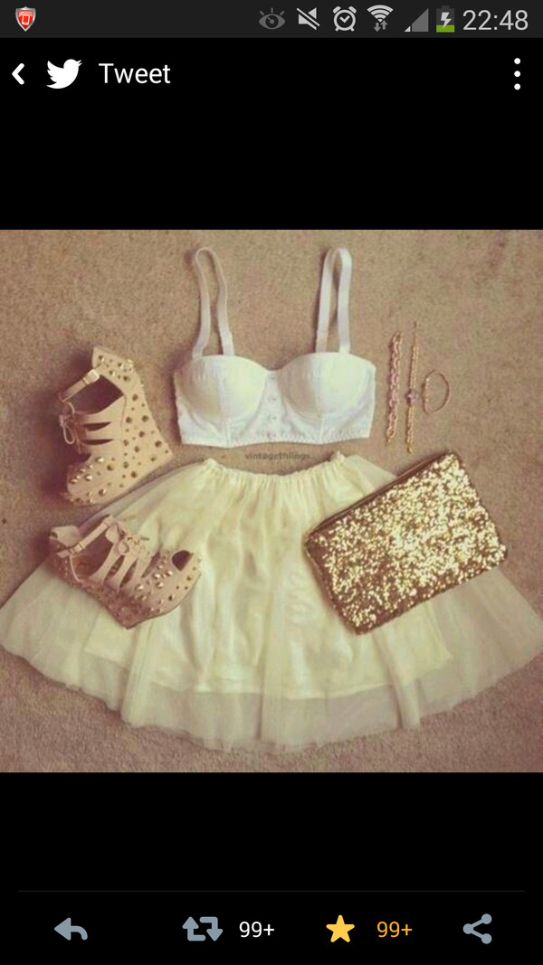 shoes gold studs beige shoes high heels wedges sparkle skirt shirt bag
