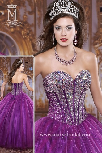 dress purple prom dresses prom puff purple dress prom dress sparkly dress princess dress glitter dress style earrings tiara make-up perfecto quinceanera dress