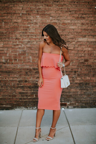 dress tumb peach peach dress midi dress tube dress bodycon dress date outfit sandals sandal heels high heel sandals bag shoes