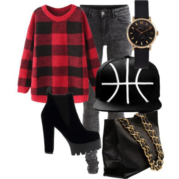 shoes grunge checkered bag sweater jumper jeans jewelry heels
