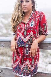 dress,red,paisley,quarter length,shirt dress,beach,summer,boho