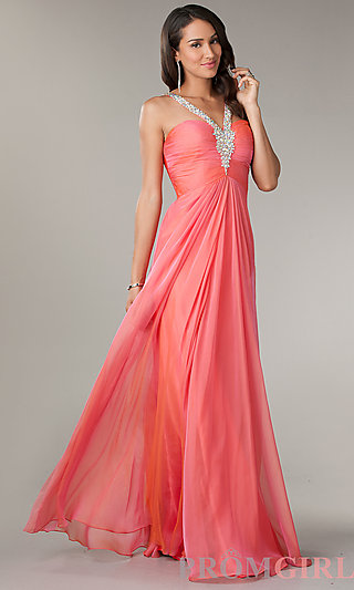 Prom Dresses, Celebrity Dresses, Sexy Evening Gowns - PromGirl: Floor Length Ruched V-Neck Dress