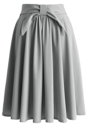 skirt,grey twill a-line skirt with bow,a-line skirt,grey skirt,bow skirt,retro skirt,spring skirt,summer skirt,chicwish,chicwish.com,retro style