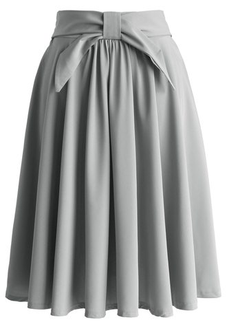skirt grey twill a-line skirt with bow a-line skirt grey skirt bow skirt retro skirt spring skirt summer skirt chicwish chicwish.com retro style