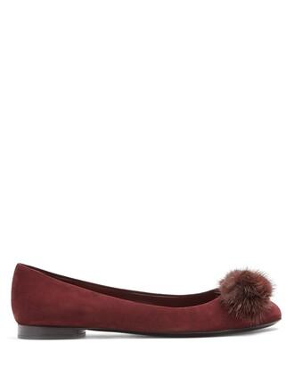fur embellished flats suede burgundy shoes