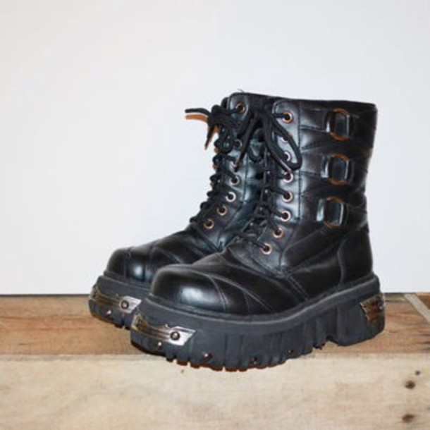 shoes boot boots goth chunky black