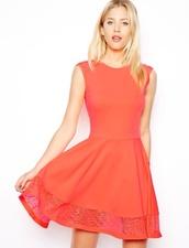 dress,coral,coral dress,coral skater dress,cute dress,formal party dresses,formal dress,orange dress,pink dress,lace,lace dress,trendy,prom,prom dress