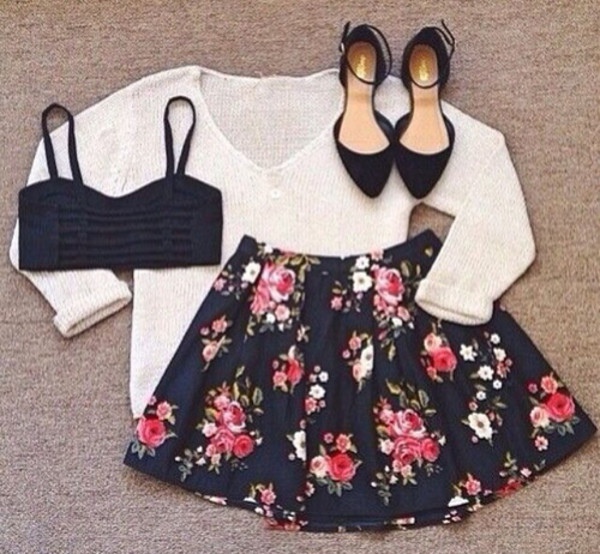 sweater skirt shoes floral skirt top tank top crop tops summer flowers floral black flowers outfit knit shirt