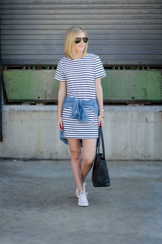 life with emily blogger t shirt dress striped dress