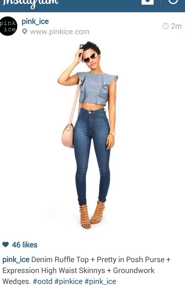 shirt denim jeans jeans heels bag tote bag denim top high wasted denim jeans bag shoes