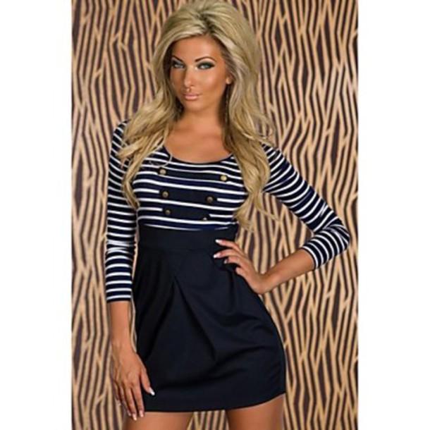 dress classic long-sleeved sailor striped mini dress