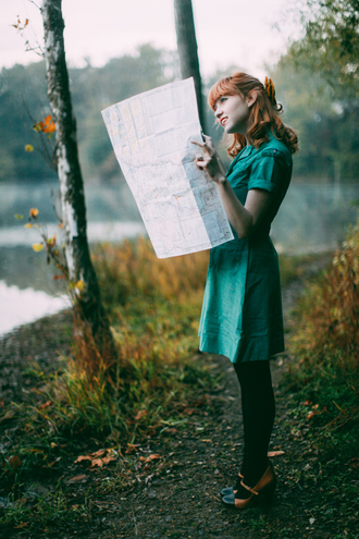 the clothes blogger tights bag green dress red hair heels forest green dress shoes map