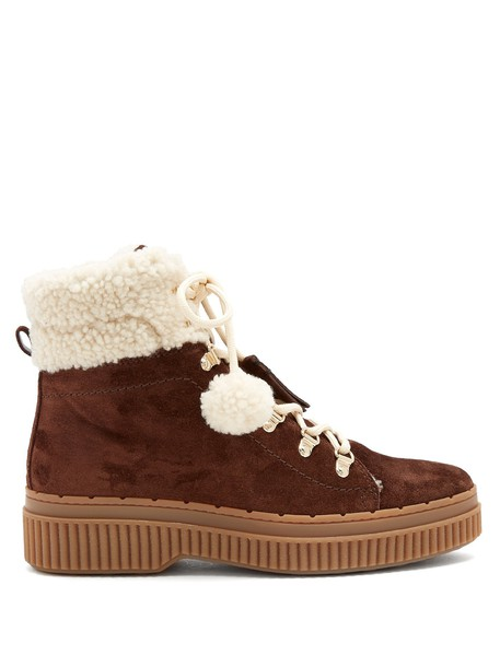 TOD'S suede white brown shoes