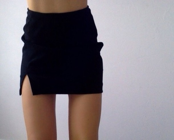 Skirt: black, mini, slit, tumblr - Wheretoget
