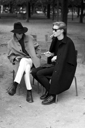 jacket mens jacket black jacket artsy arty long jacket menswear hat