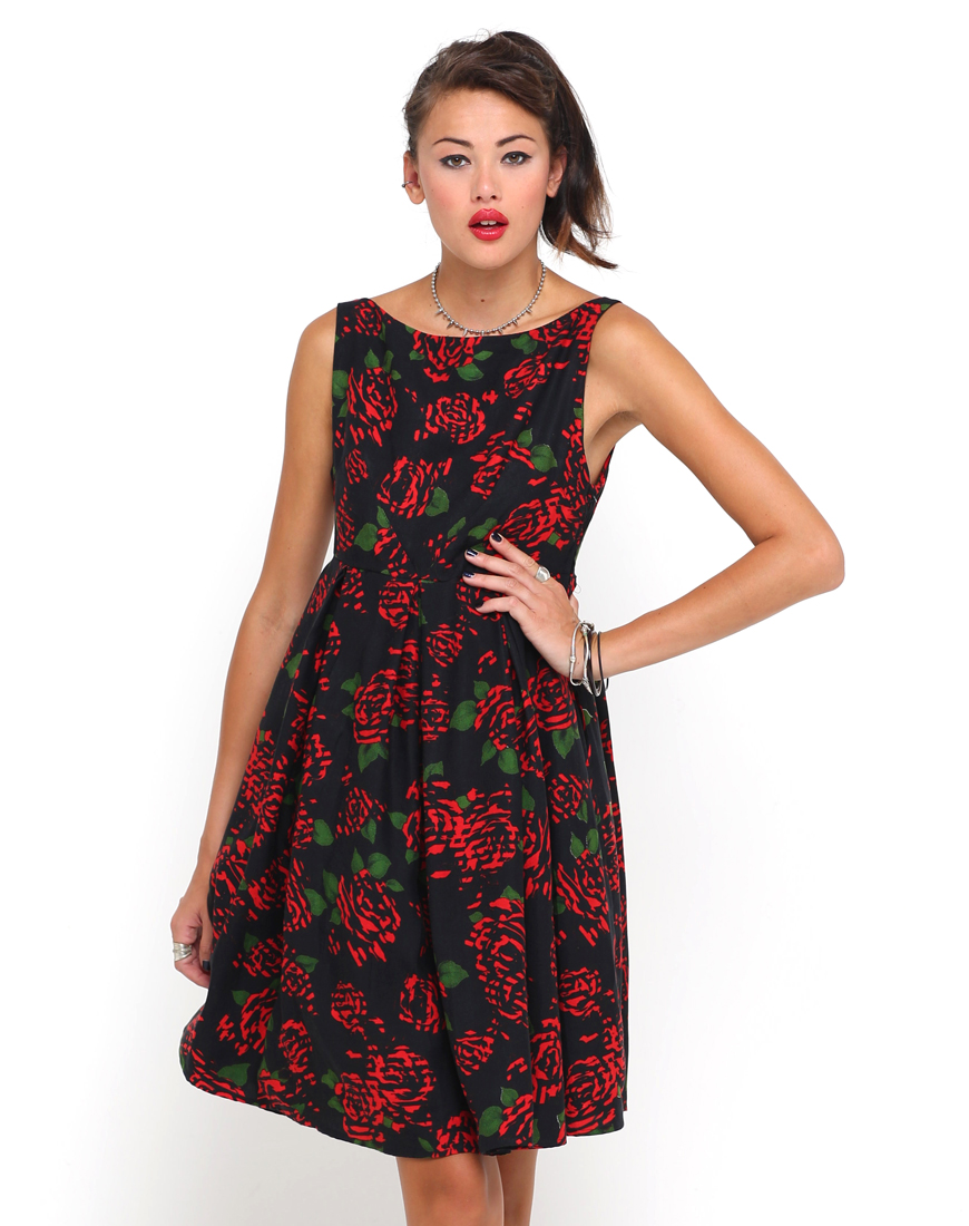 Buy Motel Mia Midi Length Dress in Tiger Rose Print at Motel Rocks