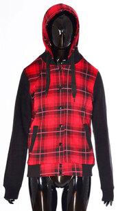 coat,ladies tartan check print hodded jacket  red