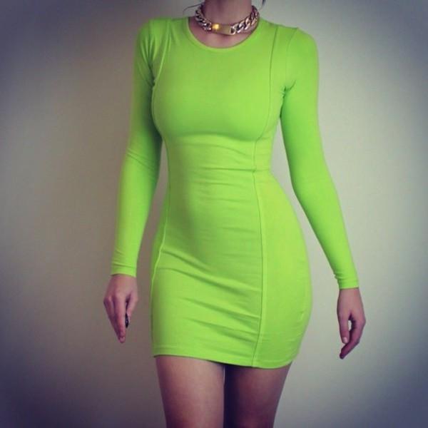 Key Lime Pie Neon Green Bodycon Midi Dress | Pink Boutique