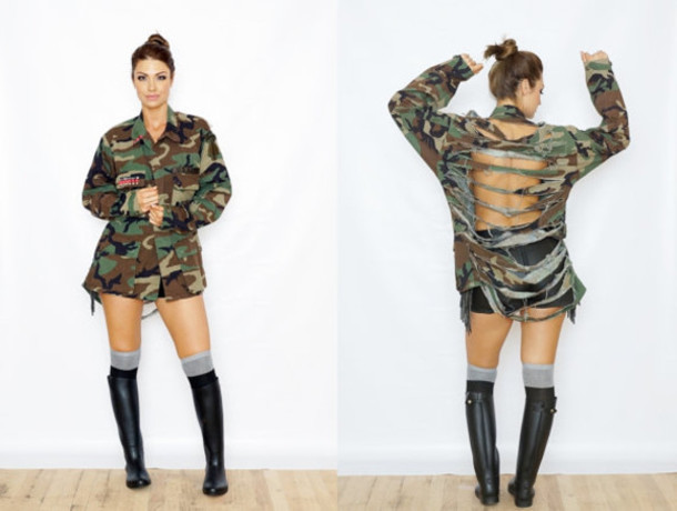 5dc05f89cad jacket cute camouflage leather shorts black black rain boots knee high socks