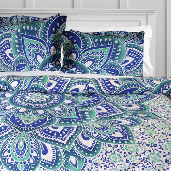 Monika For Deny Green & Blue Medallion Duvet Covers Boho Duvet Cover Set with Pillows