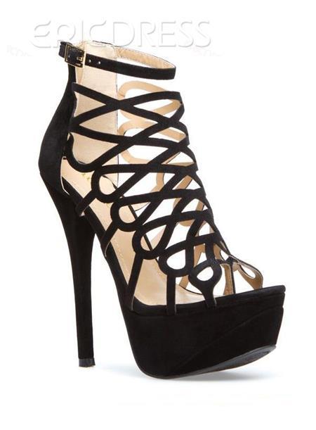 Delicate Black Butterfly Cut-Outs Style Stiletto Heel Peep Toe Women Sandals Large Size Women's Shoes- ericdress.com 10902774
