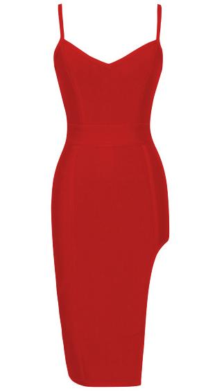 Side Slit Bandage Dress Red
