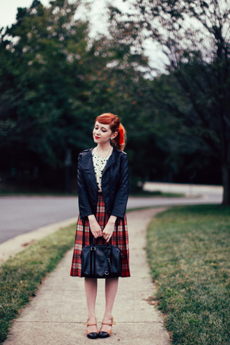 the clothes blogger jacket top bag jewels tartan midi skirt leather jacket fall outfits