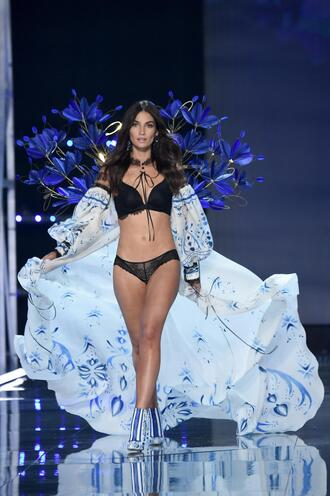 underwear panties bra black lingerie runway model lily aldridge victoria's secret victoria's secret model