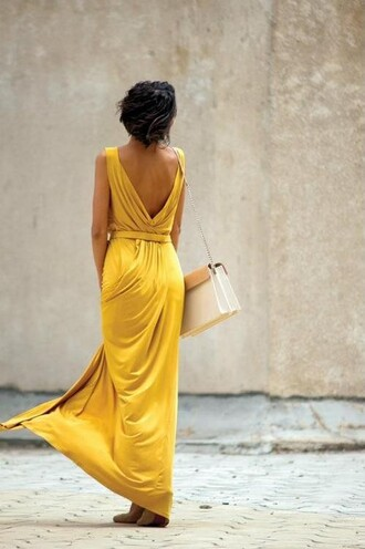 dress maxi dress yellow dress low back dress yellow summer dress mustard dress open back open back dresses backless backless dress long dress white bag bag summer dress summer outfits yellow cotton maxi low back