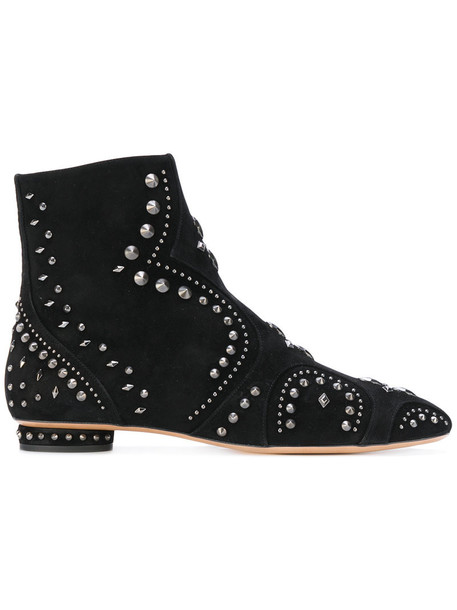 Valentino studded women ankle boots leather suede black shoes