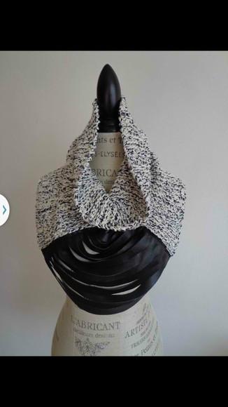 black leather scarf