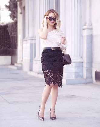 laminlouboutins blogger top skirt shoes bag sunglasses gucci belt lace skirt white top one sleeve pumps