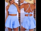 romper,blue,bow,crop tops,crop,cropped,shorts,blue shorts,twinset,two-piece,halter top,halter crop top,halter neck,summer,summer top,summer shorts,summer outfits,tan,fashion,style,trendsgal.com