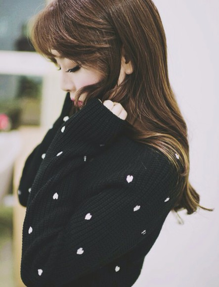 black sweater ulzzang hearts kawaii korean fashion