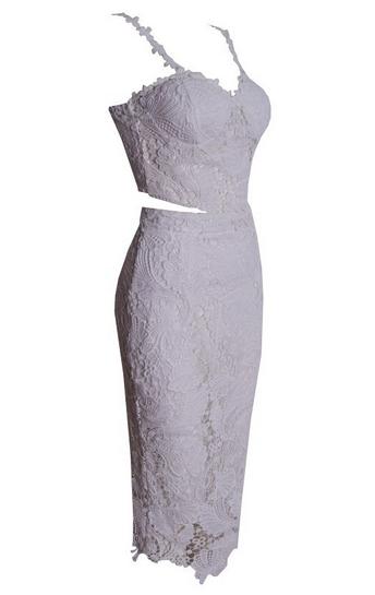 Lace 2pcs Knee Dress