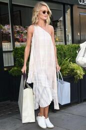 dress,midi dress,asymmetrical,rosie huntington-whiteley,one shoulder,summer dress