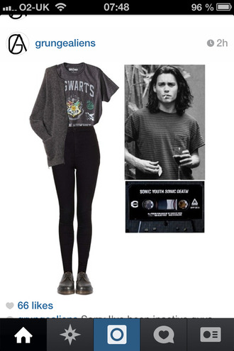 shirt grunge hogwarts harry potter grey black leggings
