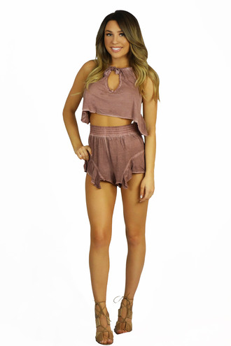 tank top mink pink radiance tencel jersey - two piece free vibrationz minkpink two piece resort set two-piece casual soft top rustic outfit cute crop top crop tops beach side boob high waisted shorts cover up summer outfits