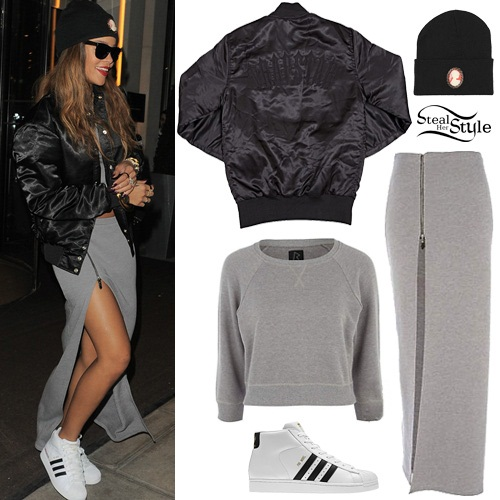 Rihanna: cropped sweatshirt, maxi skirt