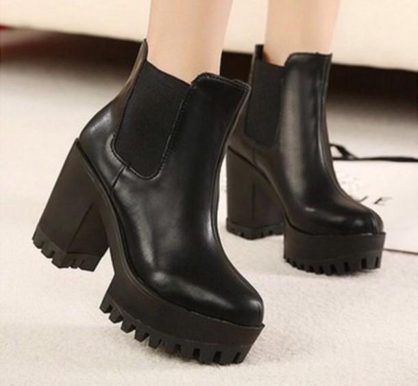 Shoes: grunge, boots, black, emo, chunky, platform shoes, heels ...