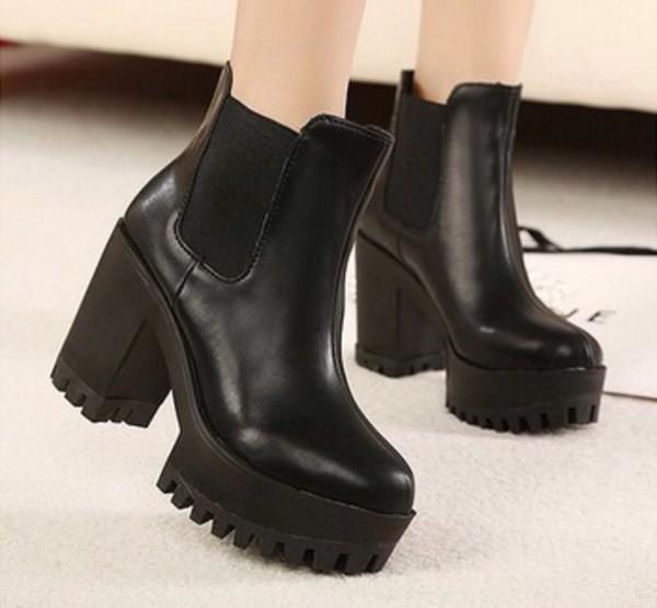 shoes grunge boots black emo chunky platform shoes heels platform shoes heel tumblr. Black Bedroom Furniture Sets. Home Design Ideas